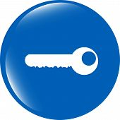 Key Icon On Glossy Icon Button Isolated On White