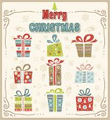 Vector illustration of Christmas gift box , design set.