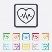 Heartbeat sign icon. Cardiogram symbol.