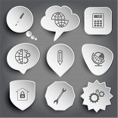 ink pen, shift globe, calculator, globe and gears, pencil, globe and lock, bank, spanner. White vector buttons on gray.
