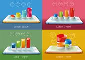 Recent smartphones set with chart infographic elements. Vector illustration