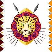 African Leopard in color pattern vector illustration