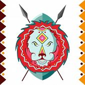 African Lion in color pattern vector illustration