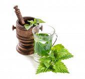 Tea with fresh nettles on white background