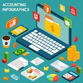 Accounting infographics set