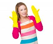 Housewife wear of plastic gloves