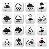 Rain, thunderstorm, heavy clouds  vector buttons set