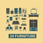 furniture, interior, room, decoration icons, signs, illustrations set, vector