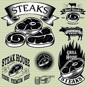 Set Template For Grilling, Barbecue, Steak House, Menu