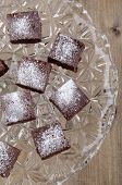 Home Made Brownies With Powdered Sugar
