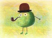 Children's Drawing Of A Green Apple