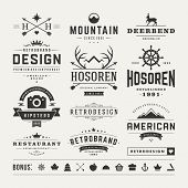 stock photo of barber  - Retro Vintage Insignias or Logotypes set - JPG