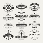 Retro Vintage Insignias Or Logotypes Set Vector Design Elements
