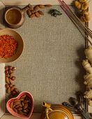 pic of sackcloth  - Saffron, figs, nuts, incense and ginger with a recipe template on a sackcloth in the frame