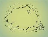 Hand Drawn Illustration - Treasure Map. Vector