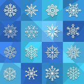 Different snowflakes set. Design elements