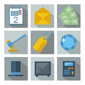 Set of 9 financial investment square icons