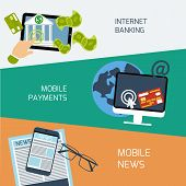 Mobile news, payments and internet banking concept