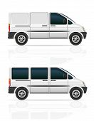 pic of moving van  - van for the carriage of cargo and passengers vector illustration isolated on gray background - JPG