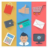 Online shopping and payment methods icons
