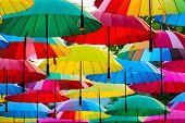 Beautiful Multi-colored Umbrellas Hanging