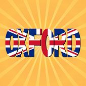 Oxford flag text with sunburst illustration