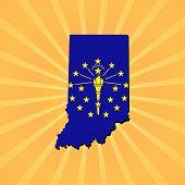 Indiana map flag on sunburst illustration