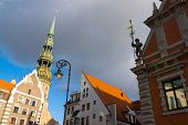 House of the Blackheads and St. Peter's Church in Riga, Latvia