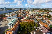 Top view of the old city of Riga and river Daugava