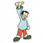 boy with raised fist cartoon illustration