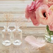Still life with pink flowers in a vase with feather and two glass botles - vintage look