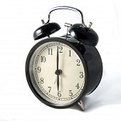 Vintage Black Clock On White Background