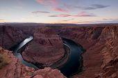 Colorado Rive Canyon At Sunset.