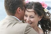 Bride and Groom Couple Hug