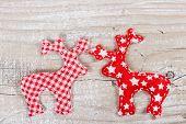 Two Christmas Deer Of Fabric