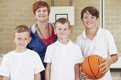Teacher With Boys School Basketball Team