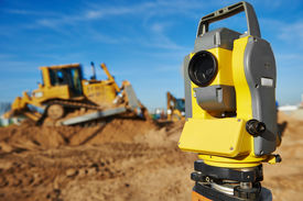 picture of geodesic  - Surveyor equipment tacheometer or theodolite outdoors at construction site  - JPG