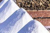 pic of salt mine  - salt piles in the saline of Janubio in Lanzarote - JPG