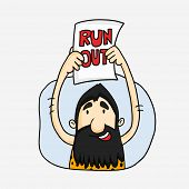 picture of caveman  - Cartoon of a caveman showing run out in Cricket game on white background - JPG