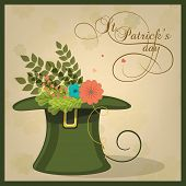 picture of leprechaun hat  - Beautiful flowers in leprechaun hat for Happy St - JPG