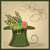 picture of leprechaun hat  - Beautiful flowers in leprechaun hat for Happy St - JPG