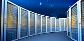 picture of twinkle  - Server towers against stars twinkling in night sky - JPG