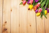foto of bouquet  - Spring Flowers bunch at wood floor texture - JPG