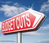 stock photo of reduce  - budget cuts reduce costs and cut spendings during crisis or economic recession