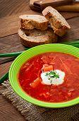pic of lenten  - Traditional Ukrainian Russian vegetable borscht soup on the old wooden background - JPG