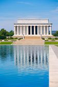 foto of abraham  - Abraham Lincoln Memorial reflection pool Washington DC US USA - JPG