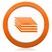image of gage  - layers orange icon gages sign  - JPG