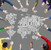stock photo of population  - World Population Global People Community International Concept - JPG