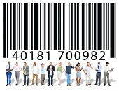stock photo of encoding  - Bar Code Encoding Data People Discussion Meeting Concept - JPG
