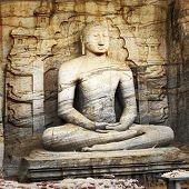 image of polonnaruwa  - Unique monolith Buddha statue in Polonnaruwa temple  - JPG